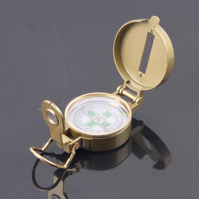 Free Shipping 1PCS 5X Metal Portable Multifunction Fashion American Military Folding Lens Compass Gift - Golden(China (Mainland))