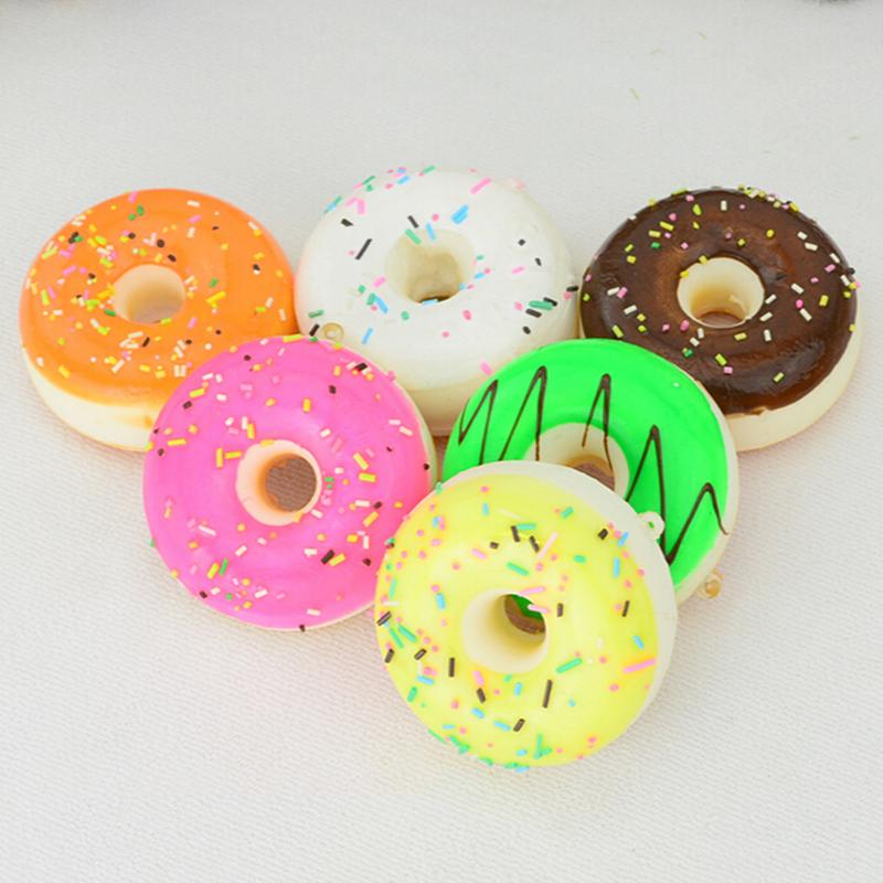 Cute Bag Parts & Accessories Kawaii Donuts Soft Squishy Colorful Diameter 5 cm Cell Phone Charms Chain Cute Strap Bag Hanger(China (Mainland))