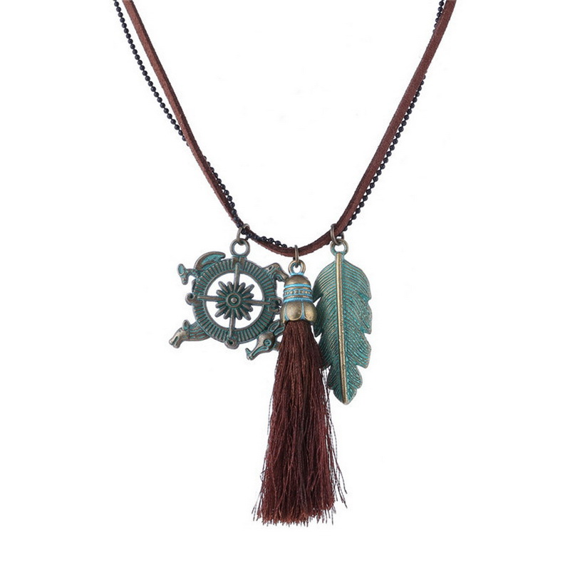 2016 Bohemian Vintage Tassel Necklace Jewelry Punk Camello Compass Leaf Charm Pendant Necklace Gipsy Maxi Necklace Women Dress(China (Mainland))