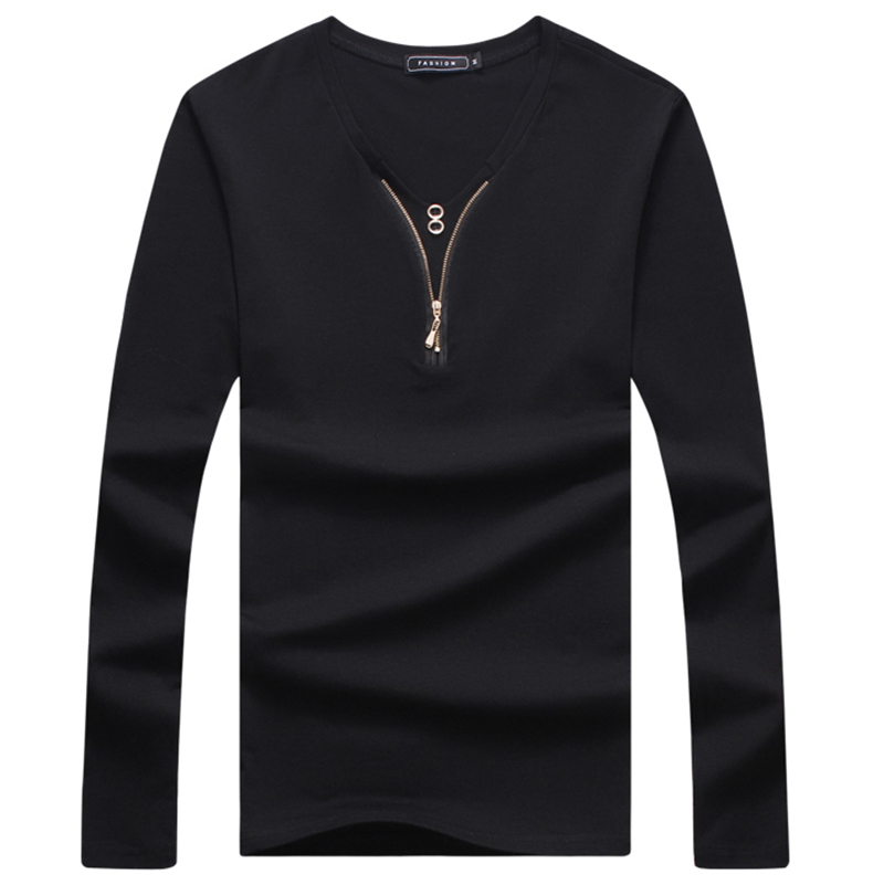 Top quality fashion men long sleeve t shirt with zipper v for Good quality long sleeve t shirts