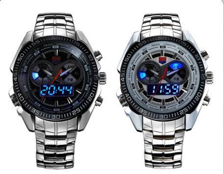 2015 MEW TVG Stainless Steel Luxury Black Men's Clock Fashion Blue Binary Sports LED Watch 30AM Waterproof Watches Free shipping(China (Mainland))
