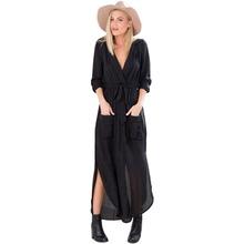 2016 Spring Autumn New Women Split V Neck Long Sleeve Tunic Chiffon Trench Casual Maxi Dress ZM0090
