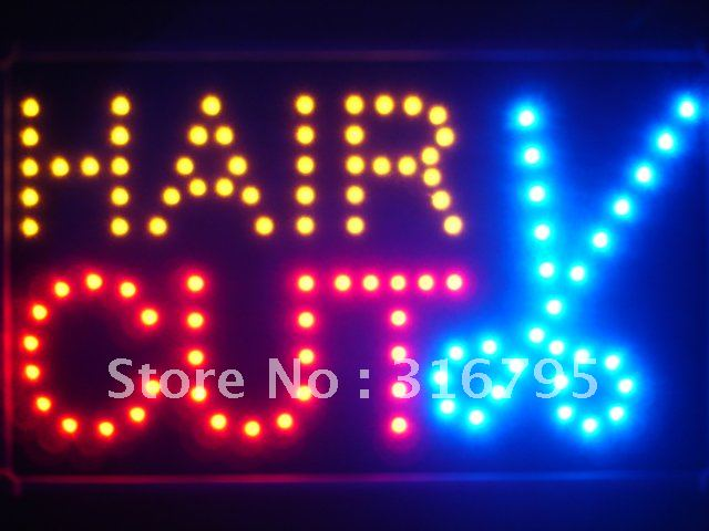 led067-r Hair Cut Scissor LED Neon Sign WhiteBoard<br><br>Aliexpress