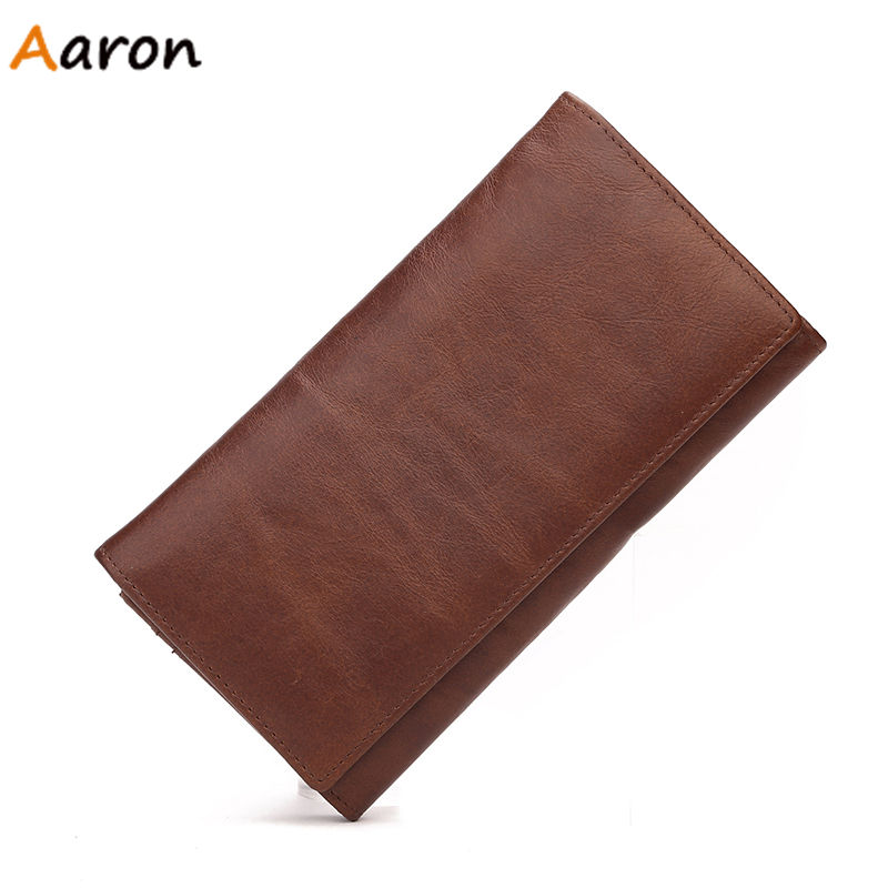 Aaron - Famous Brand Mens Genuine Leather Clutch Bifold 100% Real Cow Leather Wallet Mens Business Cards Holders Long Carteras<br><br>Aliexpress