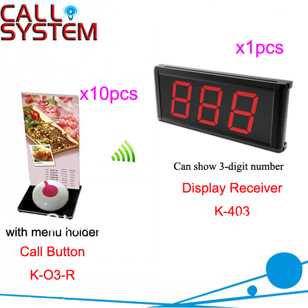 Wireless Guest Paging System for Restaurant Cafe Hotel 1pcs Display 10pcs Button display show 3-digit number Free Shipping
