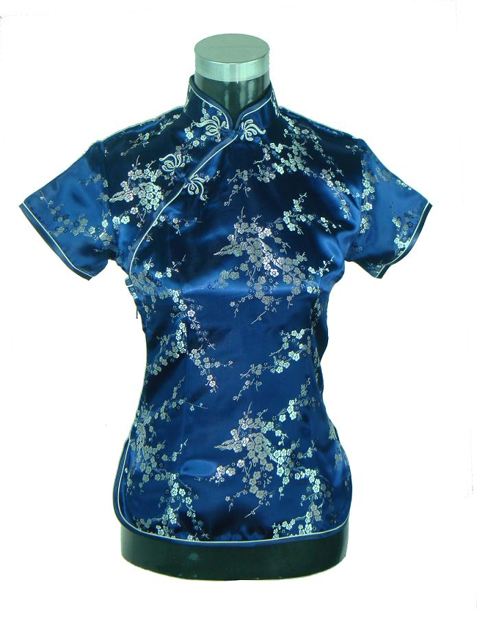 High Fashion Navy Blue Lady Satin Blouse Flower Shirt Tops Chinese Women Traditional Summer Clothing Size S M L XL XXL WS007(China (Mainland))