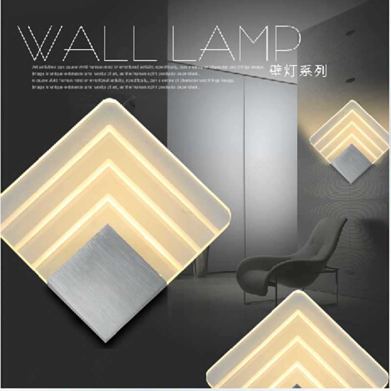 Modern Square Wall Lamp 15W  LED Acrylic and Aluminum  The Coffe Bar Restaurant Shop Wall Decorating Light Fixture<br><br>Aliexpress