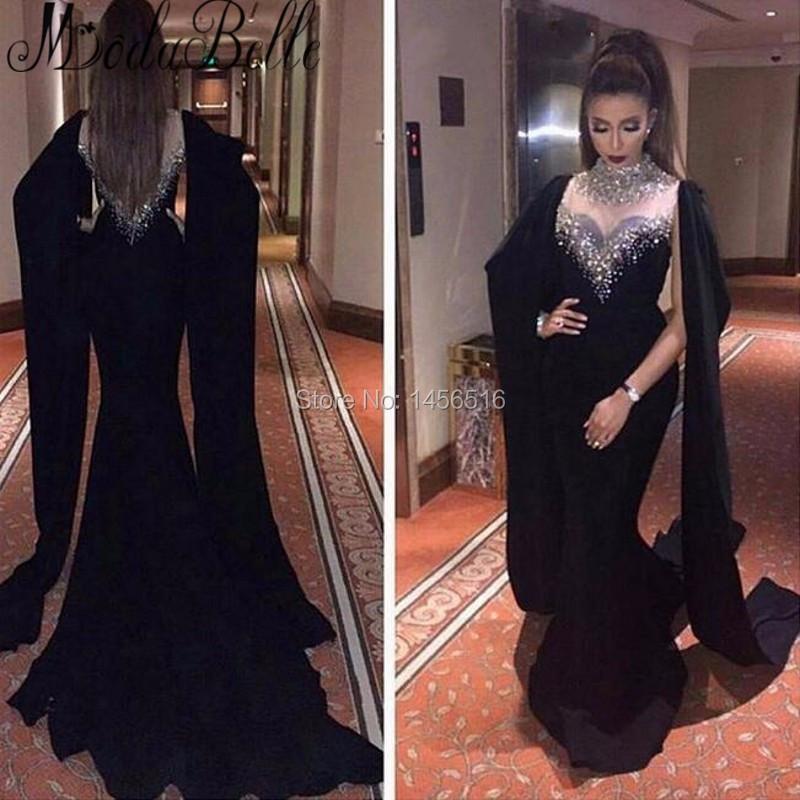021810 W los 2016 fantásticos y largo con cuentas negras vestidos noche transparente Sexy últimas vestido