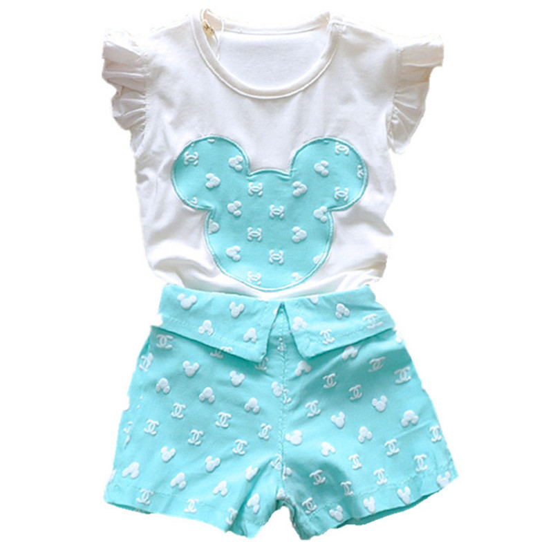 2015 New Summer 0-36M Baby Girls Sets Clothes Newbrown Baby Girls Fashion Short Sleeve T-shirt+Pant Girls Clothing Suits Set(China (Mainland))