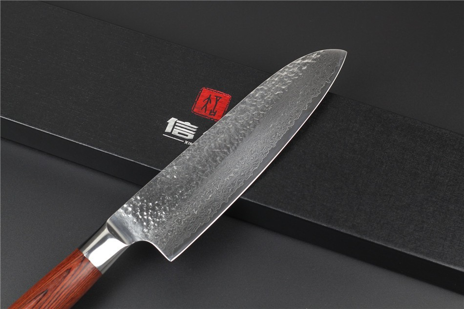 "Buy XINZUO 73 layers 7"" chef knife Japan Damascus steel kitchen knife japanese santoku knife with Color wood handle free shipping cheap"