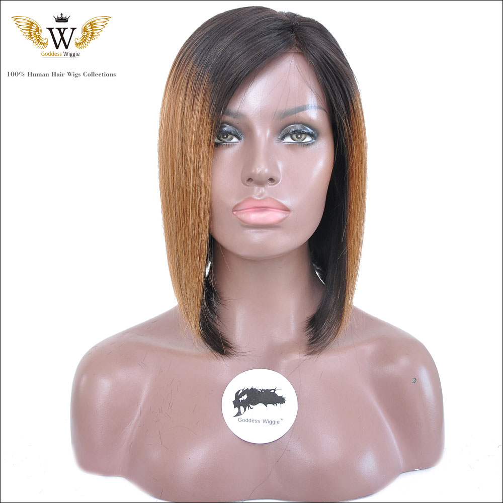 Glueless Ombre Full Lace Human Hair Bob Wigs Short Straight Human Hair Lace Front Bob Wigs For Black Women Ombre UPart  Bob Wigs<br>