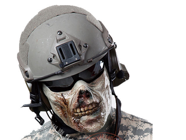 New Military Half Face Protection Gear Airsoft Wargame Zombie Paintball Mask Gray(Hong Kong)
