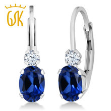 Buy GemStoneKing 1.44 Ct Blue and White Created Sapphire White Women's Earrings Solid 925 Sterling Silver Leverback Earrings for $31.19 in AliExpress store