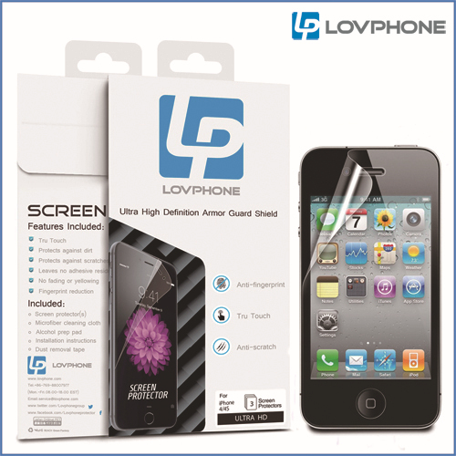 3pcs/lot Lovphone Ultra HD Screen Protector For iPhone 4S Scratch Resistant Anti-Fingerprint Crystal Clear High Definition(China (Mainland))