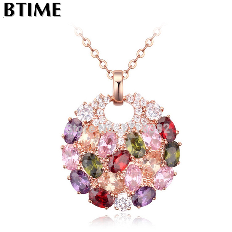 Btime Aliexpress Hot Sell Multicolor Round Necklaces & Pendants for Women 18k Gold Swiss Zircon Jewelry Crystals from Swarovski(China (Mainland))
