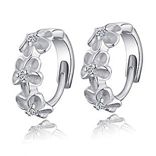 S925 Sterling Silver Earring,3 Flowers Designs with Korea,Latest Model Fashion Earrings Sterling Silver Jewelry Free Shipping