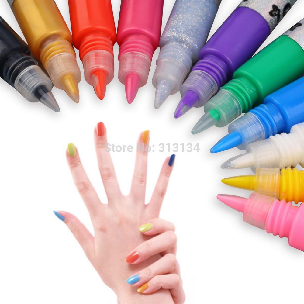 12 Colors Professional Beautiful 3D Nail Art Paint Drawing Pen Acrylic Nail Art Polish Carved Pen Kit Set DIY nail tools Hot(China (Mainland))