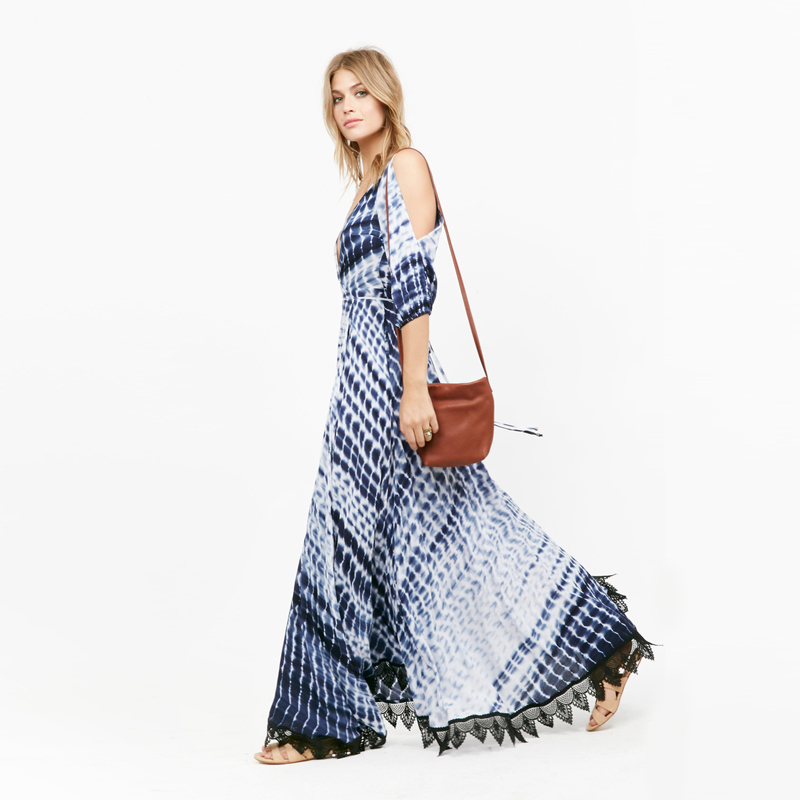 Kimono Dress Women Printed Fashion Dresses Marine Style Sexy Deep V Lace Long New 2016 Summer Maxi Dresses(China (Mainland))