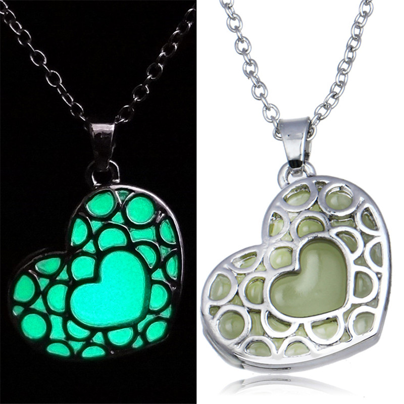 100 PCS Wholesale Steampunk Magic Glow In The Dark Blue Green Heart Pendant Charm Necklace Jewelry For Girl Valentine's Day Gift(China (Mainland))