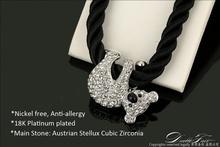 Love Animal Coala CZ Diamond Rope Chain Chokers Necklaces Pendants Silver Color Fashion Jewelry For Women