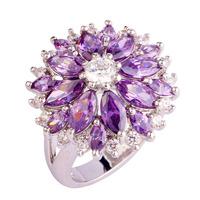 lingmei New Cluster Amethyst White Topaz 925 Silver Ring Size 7 8 9 10 11 12 13 Fashion Women Jewelry Flower Design Wholesale