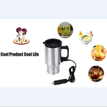 Car Heated Cup Travel Mug with Cigarette Lighter Charger Safety Non-slip Base 12V 450ML Water Tea Coffee Heater Stainless Steel(China (Mainland))