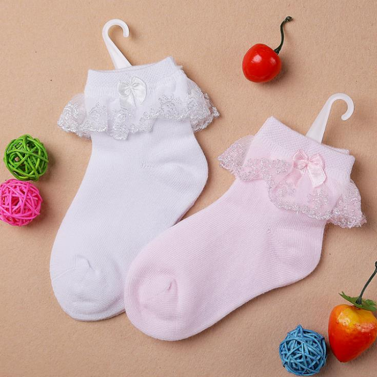 4 sizes for 2~12 years Baby boys and girls socks white and pink cotton socks relent bud bow lace sock free ship(China (Mainland))