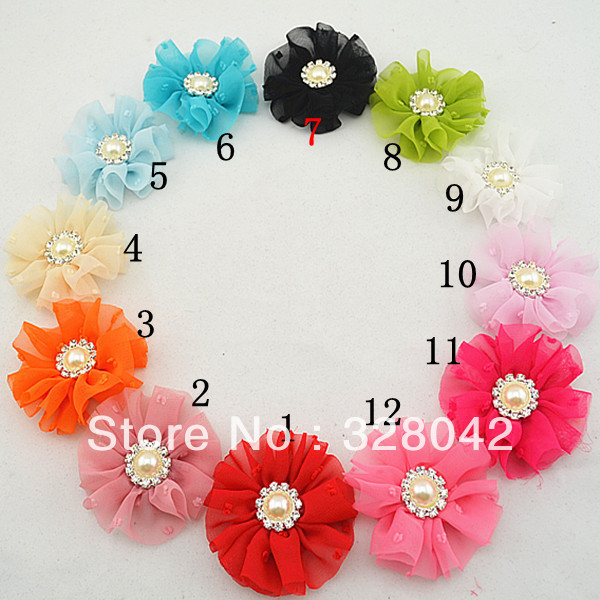 Trail order chic vintage chiffon flower clip DTY  cute party flower rhinestone pearl Button hairpin accessories 30pcs/lot