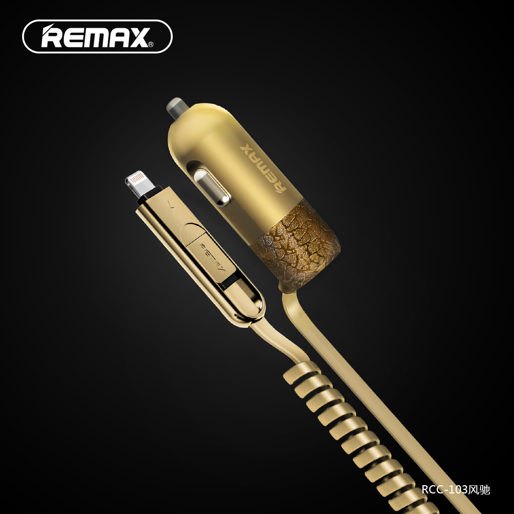 Remax USB Car Charger Total 3.4A with Spring Shape Micro USB Cable Lighting Cable for iPhone Samsung LG Huawei xiaomi Tablet PC(China (Mainland))