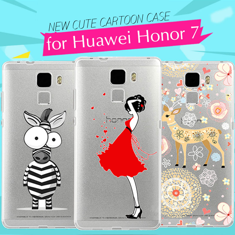Silicone Case for Huawei Honor 7 Case 3D Ultrathin Cartoon Protective Funda Soft TPU Cover Case for Huawei Honor 7 Back Cover(China (Mainland))