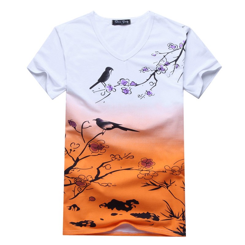 Gradient printing new men 39 s t shirt mens v mens t shirt T shirt printing china