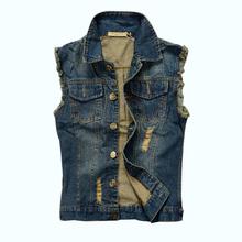 Men's Denim Vest 2015 New Brand Jeans Vests Men Slim Fit Mens Sleeveless Jacket Plus Size 6XL Colete Masculino Gilet Z1655(China (Mainland))
