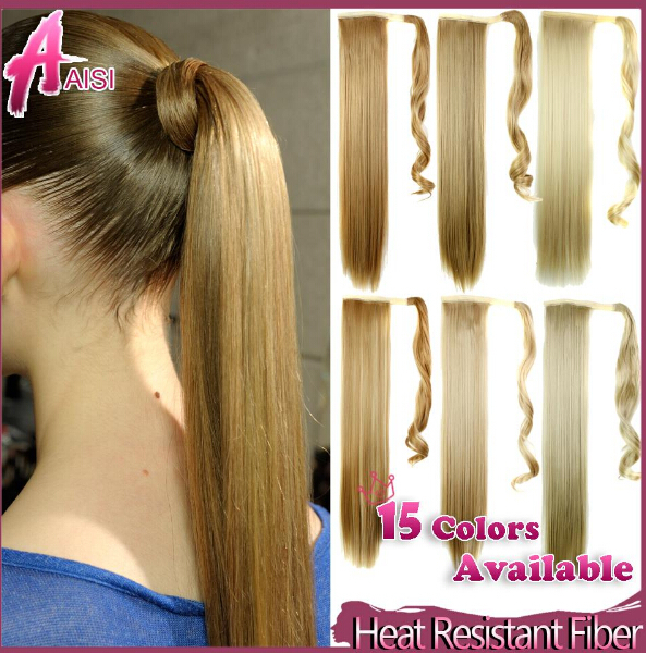 2015 New Arrival long synthetic hair extensions women's straight ribbon ponytail clip in ponytail hair extension(China (Mainland))