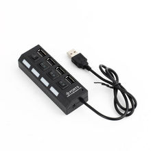 4 Port LED USB Hub Four Ports USB 2.0 Concentrator with LED Light and Separate Switch for Mobie Cellphone No Package