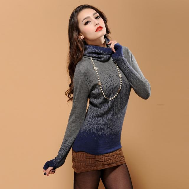 2014 spring women's double layer slim fashion turtleneck cashmere basic shirt sweater female cardigans S M L XL XXL YM-178D