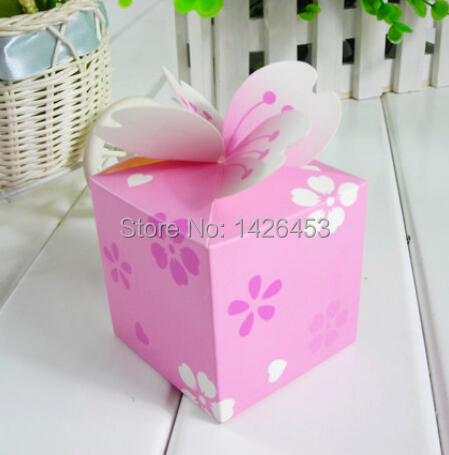 8CM European cherry blossom fashion Pink candy DIY boxes sweet Paper box Gift boxes for christmas wedding party decoration 10pcs(China (Mainland))