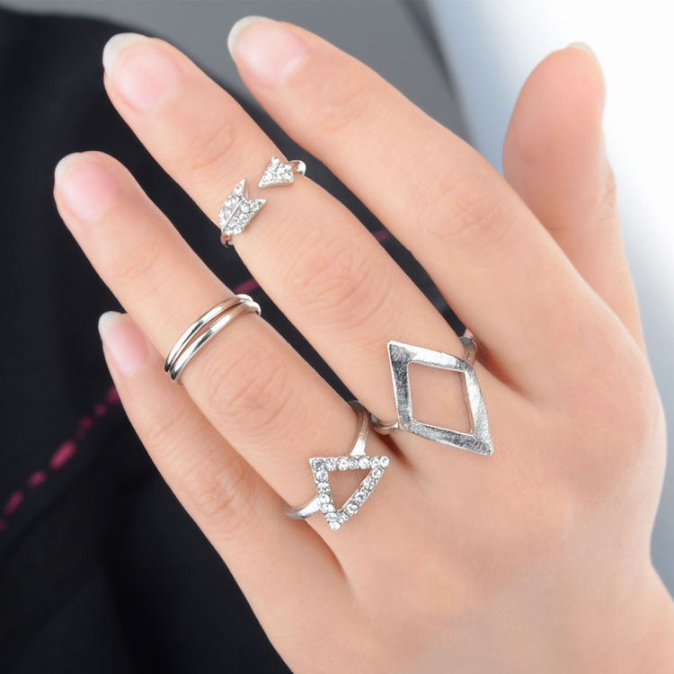 New Stylish 5 Pieces One Set Arrow Triangle Joint Suit Knuckle Finger Rings For Women Gold Silver Colors RING-0235(China (Mainland))