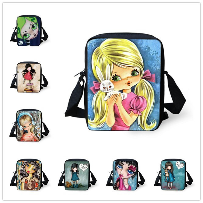 2015 Fashion Children School Bags 3D Cartoon Girl Illustration Schoolbag Casual Women Shoulder Bag Girls Book Bag Kids Mochilas(China (Mainland))