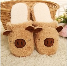 Free shipping Winter Pig Cotton Slippers Couple Of Men And Women At Home  Shoes Lovely Home Warm Shoes(China (Mainland))