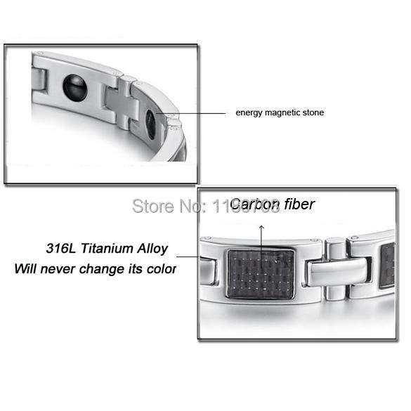 316L Men Silver Magnetic Titanium Hologram Bracelets Stainless Steel Bracelet Bangle GS356