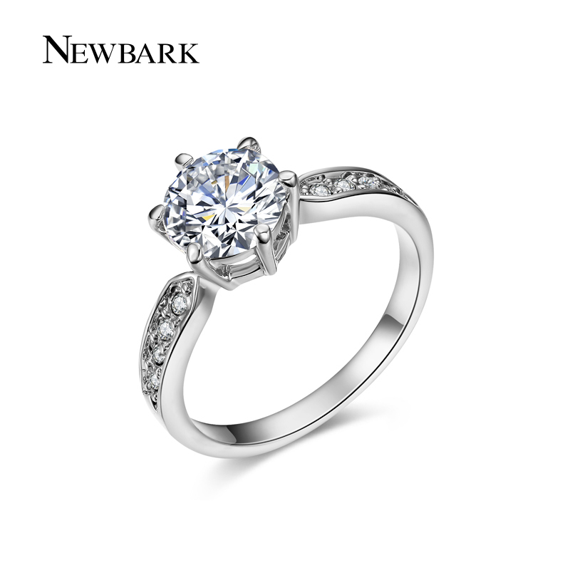 EWBARK Round Ring Engagement Rings 6 Prongs Setting Cubic Zirconia Anel Jewelry Women Love Bague Anillos Mujer Gift