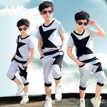 Children s clothing summer sets 2015 boys short sleeve tracksuit 12 15 years old boy clothes