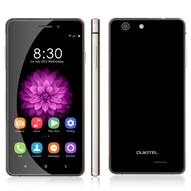 "Free Glass Film Oukitel U2 MTK6735M Quad Core 1.0GHz 5.0""IPS Android 5.1 8GB 1GB 4G FDD LTE Smart Phone(China (Mainland))"