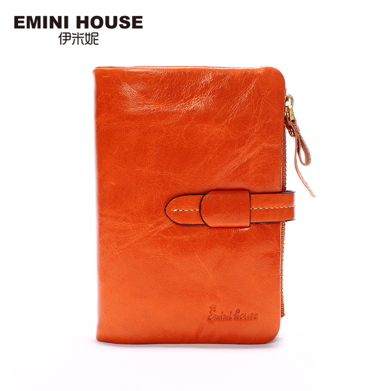 EMINI HOUSE 5 Colors Fashion Oil Wax Leather Wallet With Zipper Short Women Purse Vintage Genuine Leather Wallets Card Holder(China (Mainland))
