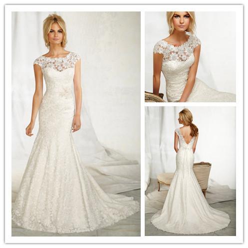 2015elegant Scoop Neckline Lace Dress Wedding Fish 2014