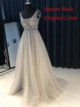 New V neck Grey Sparkly Vestido de Festa Open Back Evening Gowns 2017 Elegant Sexy See Through High Split Evening Dress(China)