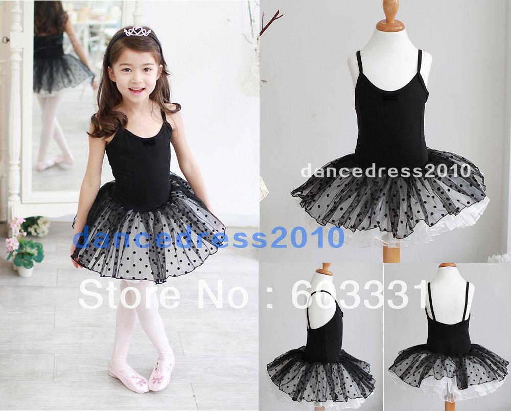 Black Kids Girls Cotton Party Ballet Costume Tutu Leotard Skirt Prom Waltz Dance Skate Dress 3-8Y - dance dress store