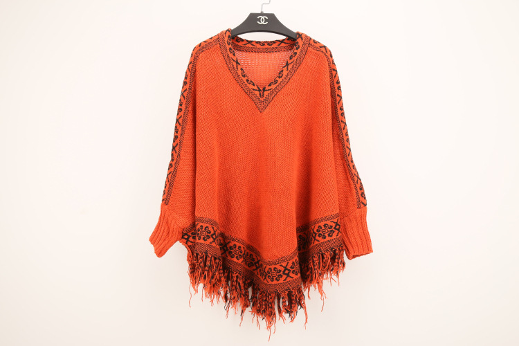 2015 new loose batwing knitwear coat shawl cloak fringe sweater dress women sweaters winter poncho v neck pullovers - free city store