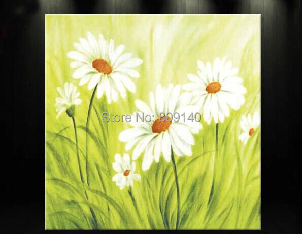 Framed Flower oil painting Abstract White Sunflower Green Artwork handmade Home Office Hotel wall art decor decoration Free Ship(China (Mainland))