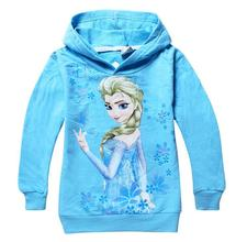 Retail Hot 2014 Children Outerwear Ice Snow Queen Elsa Anna Hoody Girls Cartoon Hoodies Jacket Coat Baby Kids Clothes for 2-10Y(China (Mainland))